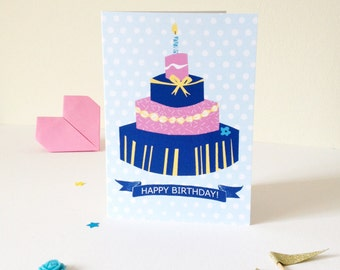 Colourful Cake Birthday Card, A6. Happy Birthday banner, bright, bold, illustrated design, perfect for adults and children alike!