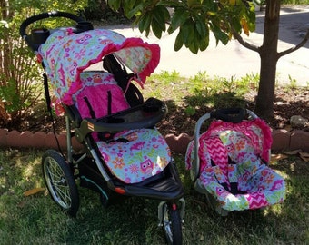 Stroller and car seat not included Pink owls and pink chevron car seat COVER and hood COVER with matching stroller hood and seat cover
