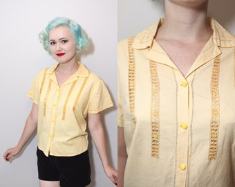 Vintage 1940's Yellow Cotton Embroidered Blouse | XL