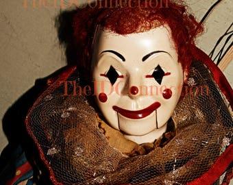 Creepy Clown Digital Photograph, Instant Download, Halloween Clown, Clip Art, Altered Art, Mixed Media, Halloween Clown
