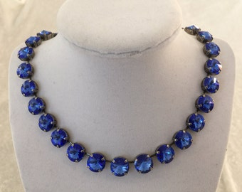 Swarovski crystal necklace, crystal necklace, 12mm sapphire blue, choker- bracelet and earrings available,bridesmaid