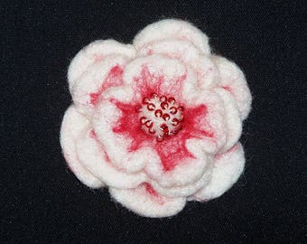 Needle Felted Flower in Red and White - Floral -  Your choice of Pin Back, Barrette, or Pony Tail Elastic - Felt Flower - Gift for Her