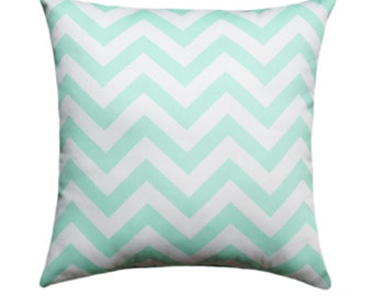 Mint Pillow Cover, Mint and White Throw Pillow, Zig Zag Mint Accent Pillow, Chevron Pillow Cover, Mint Accent Pillow, Mint Green Pillow Sham