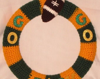 Green Bay Packers Wreath, Green and Gold, Door Hanger, Wall Hanging, NFL, Housewarming Gift, Super Bowl Party, Decoration