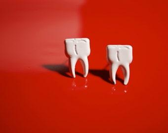 Wisdom Tooth Earrings -- Studs, Silver