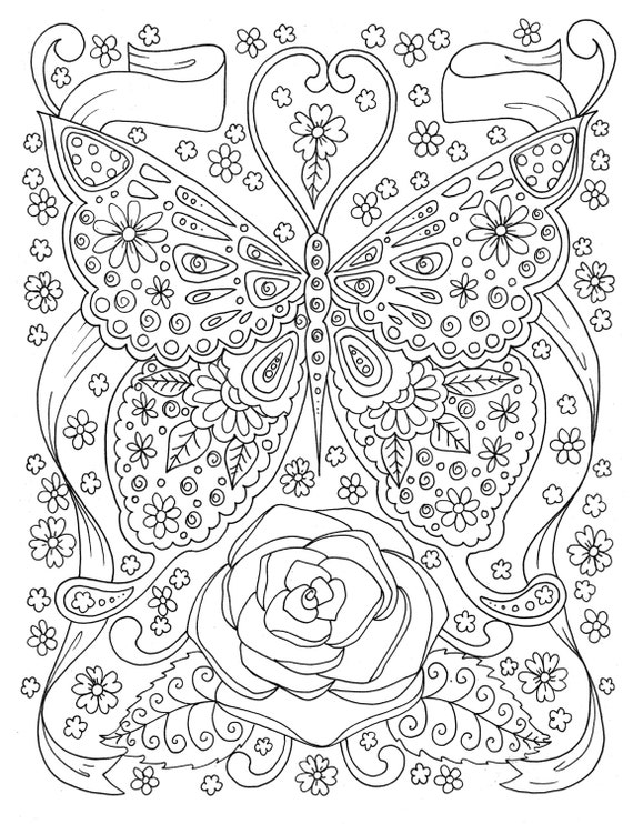 Butterfly Coloring Page Adult Coloring Book Digital Coloring