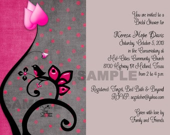Black and Pink Bird Bridal Shower Invitation