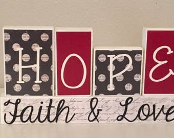 Hope Faith Love Block Set
