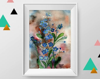 Forget me not watercolor painting, ORIGINAL watercolor painting, flower wall art, flower painting