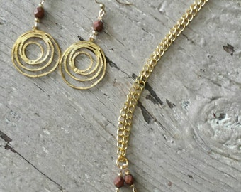 Gold Necklace and Earrings with Gold Spiral Pendants and Rust Brown Rustic  Faceted Picasso Glass Beads