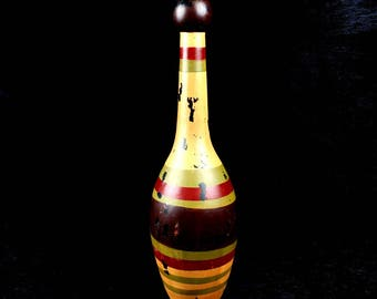"""14"""" Tall Painted Wood Indian Exercise Club"""