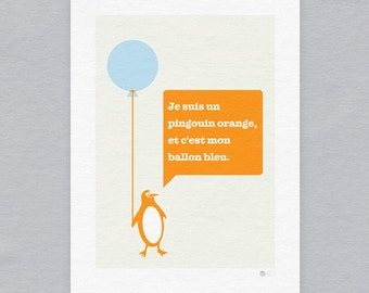 Orange penguin with blue balloon - Limited edition print
