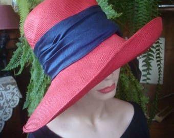 sunhat womens stylish preloved red big brim straw red hat sun hat travel hat