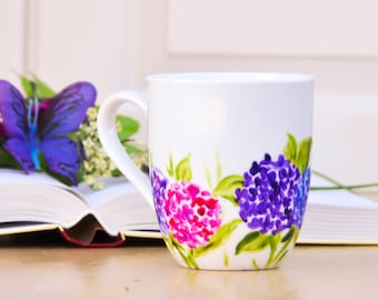 Pink and Purple Hydrangea Personalized Coffee Cup  - Hand Painted Flowers Coffee Mug - Floral Kitchen Decor - Mother's Day Gift