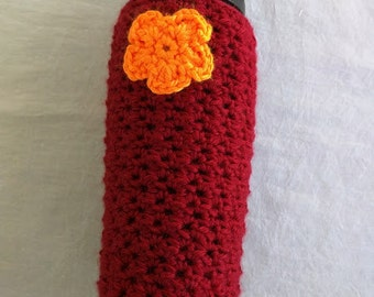 Hokie Crochet Water Bottle Cozy with Flower