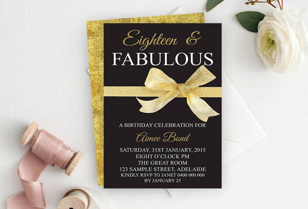 18th Birthday Invitation, 18th Birthday Party Invitation, Milestone ...