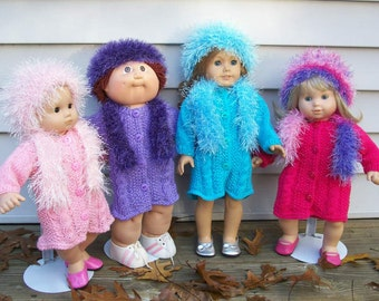 94) Knit Sweater Coat Hat and Scarf  ANY 15 or 18 Inch Doll  Coat Fun Fur Hat and Scarf Cable Design  AG CP Bb