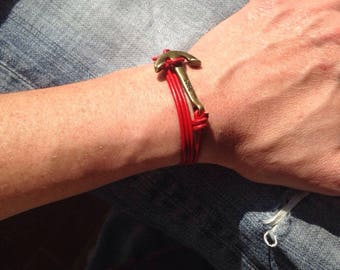 Red anchor leather bracelet copper several rounds of free shipping in France