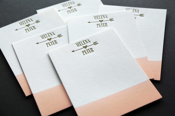 CORAL + GOLD: Couples Custom Dip Dye Letterpress A2 Flat Note Cards + Blank Matching Envelopes, qty 50