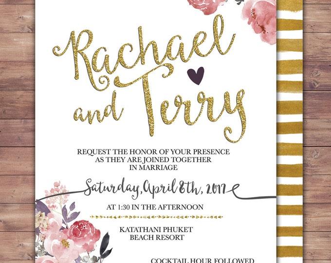 BOHO, Wedding Invitation Printable, Floral,Wedding Invitation Suite, RSVP, monogram, info card, hand lettered typography theme.