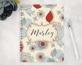 Floral notebook, glossy spiral notebook, personalized notebook, custom notebook, school notebook, back to school supplies