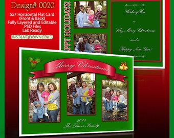 2017 Photoshop 5x7 Horizontal Photo Holiday Christmas Card Template. High quality and professionally made. Holds 5 images or pictures. Xmas.