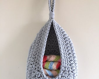 Hanging storage, crochet basket, toy storage, bathroom organiser