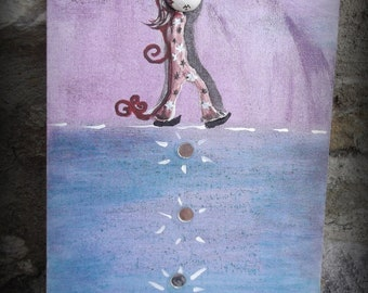 "Painting on canvas Board, mixed media: ""sleepwalker"" 27 x 19 cm, OOAK"