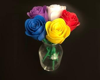 3D Printed Flower Bouquet (5 Multicolor Flowers)