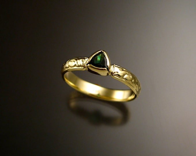 Tsavorite Garnet triangle 14k Green Gold Victorian floral pattern wedding ring Emerald substitute engagement ring