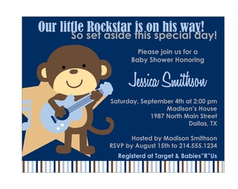 90 Rockstar Monkey Baby Shower Invitation or Birthday Invitation Cards (Printable file available)