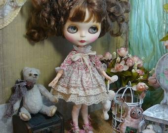 Blythe clothes outfit  shabby old Dress / Blythe pink dress,  Pullip dress / pullip clothes