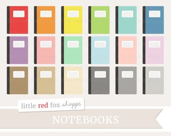 Notebook Clipart, Journal Clip Art Composition Office Supplies Paper Class School Classroom Cute Digital Graphic Design Small Commercial Use
