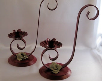 Candle Holder, Handmade with Beautiful Rose Accent