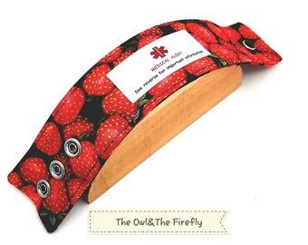 Adult Medical Alert Bracelet Adult ID Bracelet Autism Awateness Fabric Bracelet Soft Fabric Safety Bracelet Strawberries