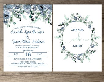 Dusty Blue Floral Wedding Invitations • Greenery Watercolor Invites Navy • printable