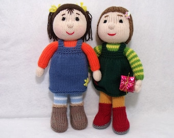 Two dolls knitting patterns deal. Toy knitting pattern. PDF instant download knitting pattern.