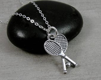 Tennis Rackets Necklace, Sterling Silver Tennis Racket Charm on a Silver Cable Chain