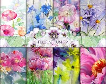 Watercolor Floral Paper Download Floral Scrapbook Download Floral Digital Paper Floral Background Digital Floral Watercolor Digital F-71