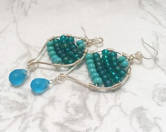 Ocean aqua beaded earrings