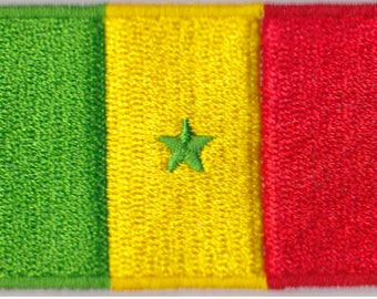 Small Senegal Flag Iron On Patch 2.5 x 1.5 inch Free Shipping