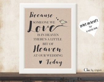 """Because Someone We Love Is In Heaven Print, PRINTABLE Wedding Memorial Sign, Printable, Wedding Gift, 8"""" x 10"""" PDF  Instant Download"""