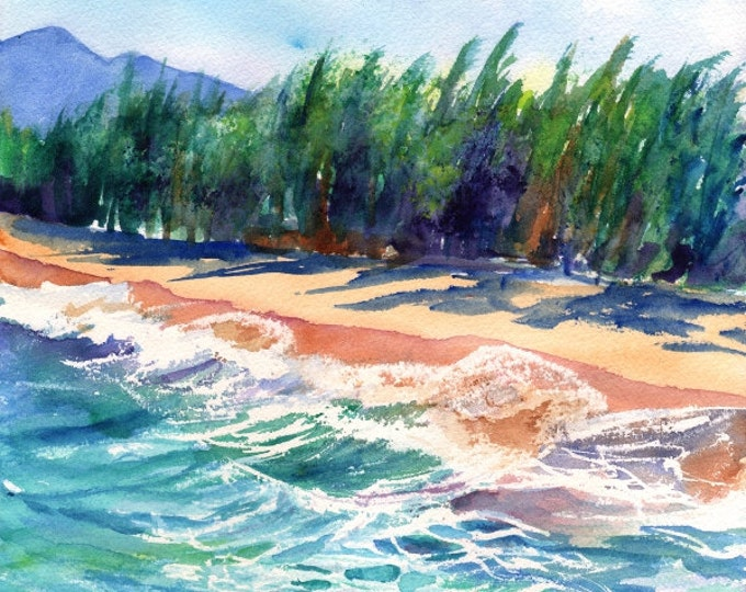 Kauai Beach 8x10 print from Hawaii Giclee Wall Art Decor Seascape Vacation blue green teal sand tropical