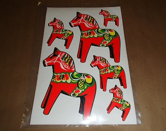 Swedish Dala Horse Stickers 2 sheets with 3 sizes = 12 stickers