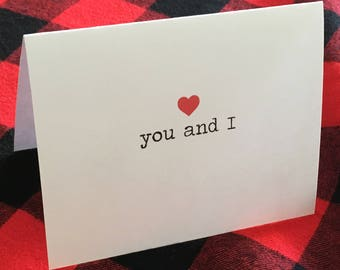 You and I Card // Valentine's Day Card // Romantic Card // Cute Love Card // Dating Card // Relationship Card // We Go Together // Couples