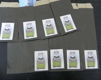 DRESS 8 sheep gift bags: 4 small and large 4