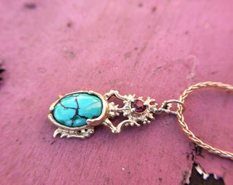 Turquoise, Pink Garnet & Silver Scarab Necklace