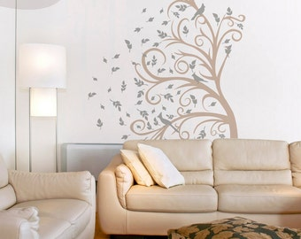 Curly Tree, Leaves & Birds in the Wind - Vinyl Wall Decal