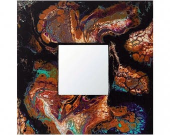 Abstract Acrylic Pour Repurposed IKEA 10x10 Malma Mirror