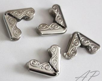 Metal Book Corner Collar Corner  for DIY Book Binding Craft Tool in Silver Vintage Style  20pc